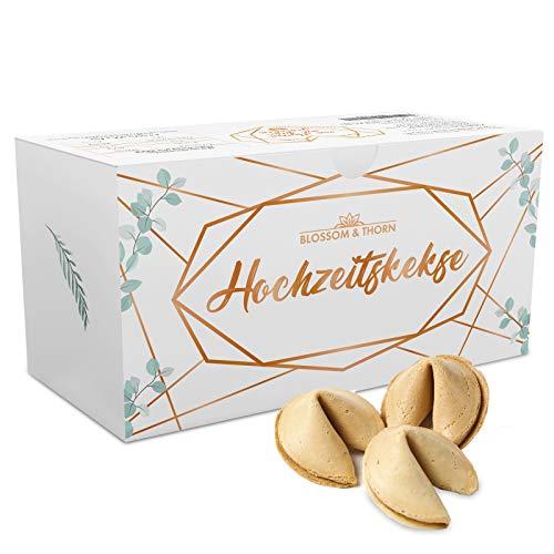 Hochzeitskekse Glückskekse - 66 einzeln verpackte Glückskekse mit deutschen Liebeszitaten in einer Box – Gastgeschenke für die Hochzeit