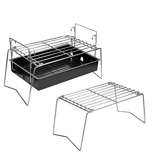 Tragbare Camping Grill Compact Mini Edelstahl Lagerfeuer Holzkohle Gas BBQ Grill Rack Für Rucksackreisen, Wandern, Picknicks