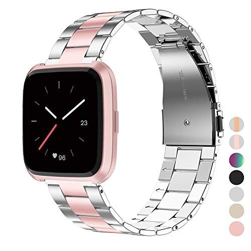 Wearlizer für Fitbit Versa Armband/für Fitbit Versa Lite Armband, Edelstahl Ersatzband Armbänder für Fitbit Versa Special Edition Klein Groß - Silber + Rosa