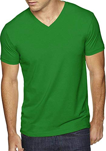 Mens V Neck Tee Solid Fit Premium T Shirts S-2XL