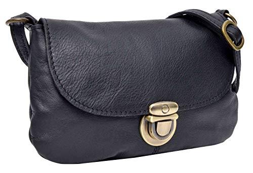 Gusti Leder 'Rona' Umhängetasche - Handtasche Ledertasche Vintage Schwarz Leder