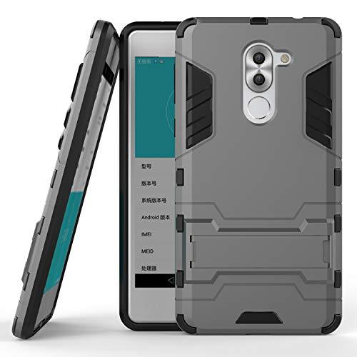 COOVY® Cover für Huawei Honor 6X / Mate 9 lite / GR5 2017 Bumper Hülle, Doppelschicht aus Plastik + TPU-Silikon, extra stark, Anti-Shock, Standfunktion   Farbe grau