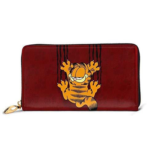 Garfield - Cartera larga de piel de vacuno para hombre y mujer, cremallera de gran capacidad para tarjetas de crédito, bolsa de dinero en efectivo