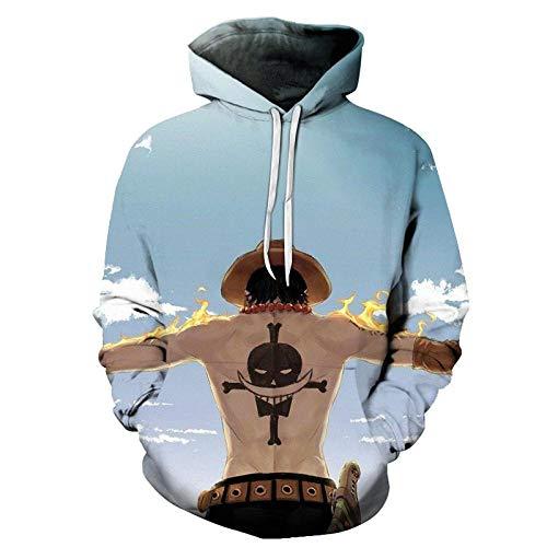 LFNBOOSE Kapuzenpullover Anime One Piece Hoodies 3D Print Pullover Sweatshirt AFFE D Ruffy Ace Sabo Shanks Gesetz Schlacht Trainingsanzug Outfit Casual Oberbekleidung-Afkh3218_M