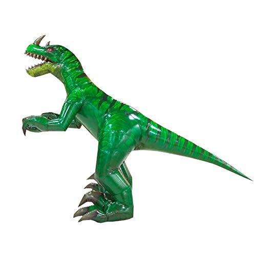 Happy Island Aufblasbares Tyrannosaurus-Kostüm Velociraptor Dinosaurier Erwachsene Halloween Rollenspiel-Spiel Verkleidung Cosplay Kleidung - grün - Large