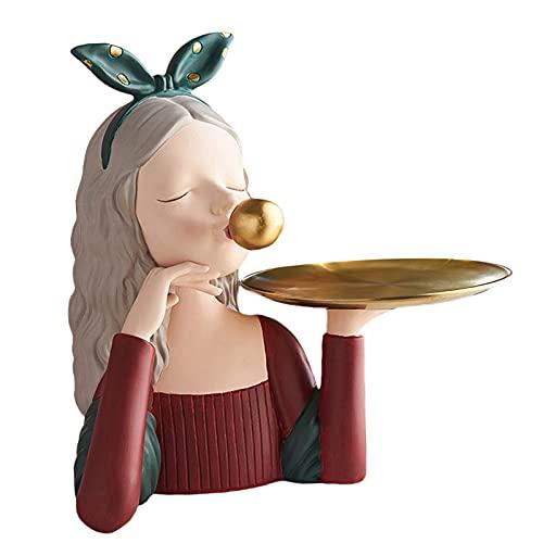 MagiDeal Bandeja de Valet de la joyería de la Escultura de la Muchacha de la Burbuja Encantadora de Resina, Gato para Hombres y Mujeres, Llave, Cartera, Caja - Red