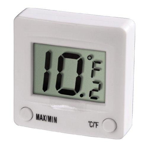 Xavax Digitales Kühlschrankthermometer zum Kleben im Gefrierschrank, Kühlschrank, Tiefkühltruhe, Weinkühlschrank, Minibar, min. -30 Grad, MAX! +30 Grad, weiß