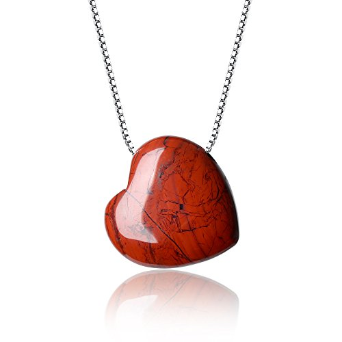 COAI® Collar con Colgante de Jaspe Rojo Corazón 925 Plata Esterlina