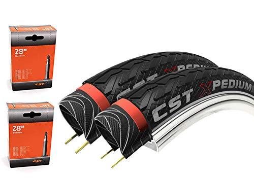 """CST 2 x Fahrradreifen 28\"""" Xpedium One Pannensicher 37-622 28x1 5/8 x1 3/8 Fahrrad Reifen mit Reflexstreifen (2 x SV   Französisches Ventil)"""