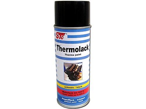 STC Thermolack Spray schwarz matt 400 ml hitzebeständiger Lack bis 600 °C Auspufflack schwarz Motorlack