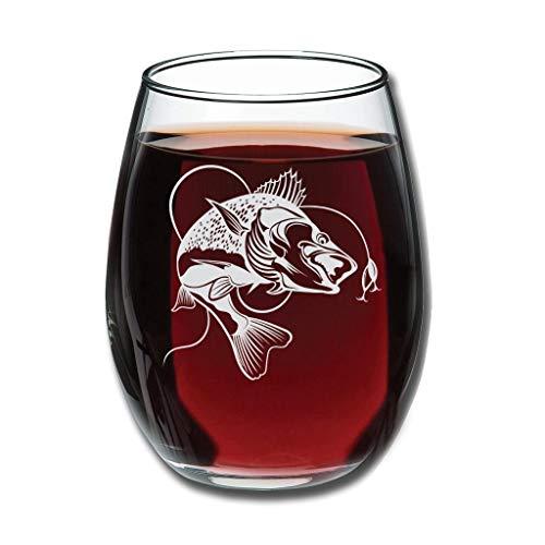 CATNEZA Grappige Libbey Rode Wijnglas - Vissen Permanent Gegraveerde Wijn Tumbler Nieuwigheid voor Huis Gift 12 Oz