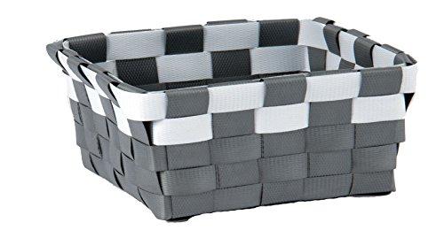 MSV Aufbewahrungskörbchen Aufbewahrungskorb Aufbewahrungsbox Organizer Badkorb 19x14x8 cm - Grau/Weiß