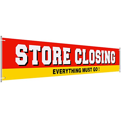 Large Store Closing Sign Banner Going out of Business Banner Large Retail Store Closing Sign Everything Must Go Advertising Banner, 1.6 x 9.8 Feet