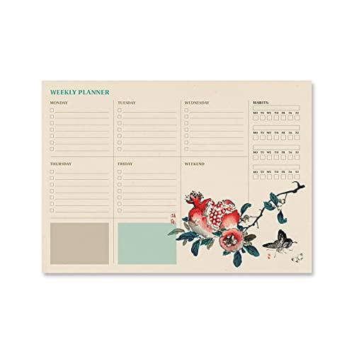 Bloc planificador semanal A4 Japanese - Organizador semanal - Planificador semanal - Planning escritorio │Planificador en inglés -Organizador semanal