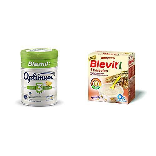 Blemil Plus Optimum 3, Leche de crecimiento para bebé - Pack de 2 x 800 g - Total: 1600 g + Blevit Plus 5 Cereales para bebé - Pack de 2 x 300 g  - Total: 600 g