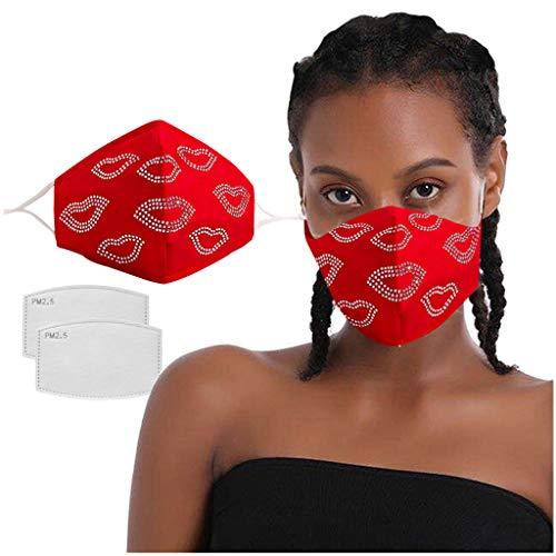 Glänzend Strass Mund und Nasenschutz, Damen Verstellbar Waschbar Glitzer Mundschutz, Wiederverwendbar Atmungsaktiv Staubdichte mit 2 STK Filters