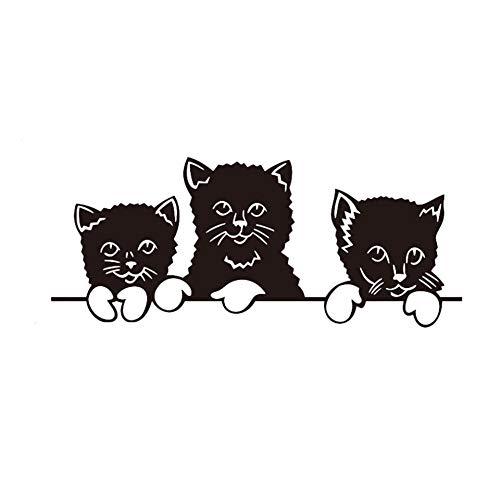 Muursticker, kat, PVC, vinyl, voor woonkamer, familie, ramen, muursticker, afneembaar, 50 x 70 cm
