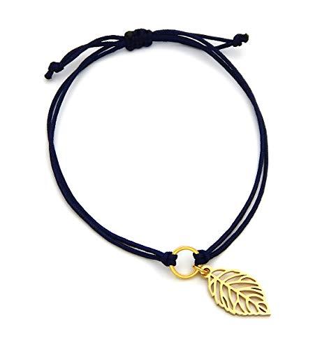Damen Armband mit Ring und Edelstahl-Anhänger Blatt Makramee Band Blau Länge variabel durch Fixierverschluss Armbändchen Armreif Macrame Gold