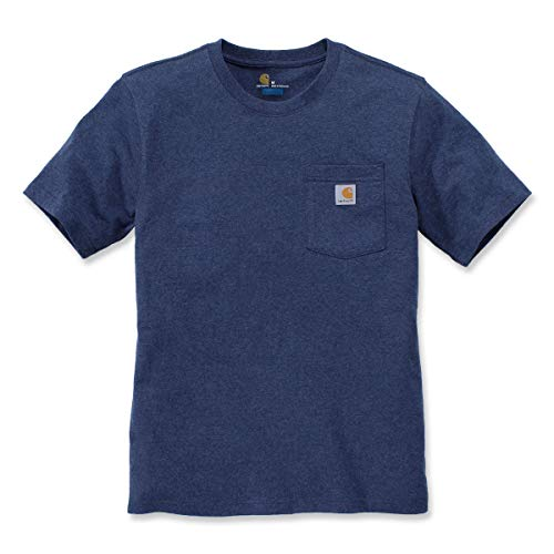 Carhartt Herren Workwear Pocket Short-Sleeve T-Shirt, Dark Cobalt Blue Heather, M