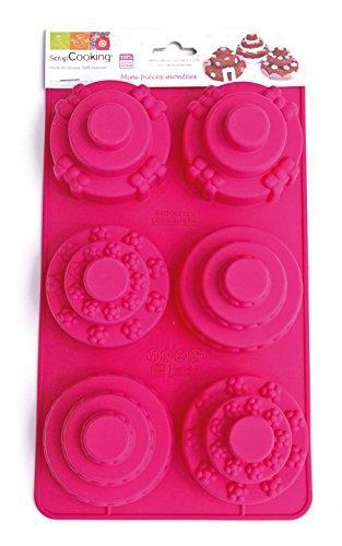 SCRAP COOKING 3128 Moule - Mini Pièces Montées, Silicone, Rose, 30 x 17,5 x 7 cm