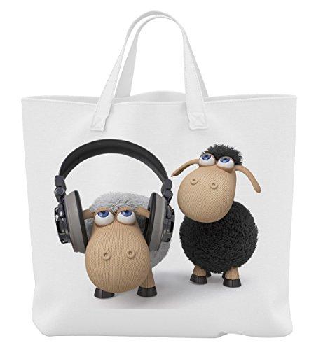Merchandise for Fans Einkaufstasche - 45 x 42 cm x 9,5 cm, 18 Liter - Motiv: 3D Comic Schaf hört über Kopfhörer Musik - 04