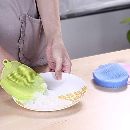 LLine 1PCS Magic Reinigingsborstels Siliconen schaal Schuren Eenvoudig schoon te maken Borstels Schonere sponzen Schotel Kookgereedschap, blauw