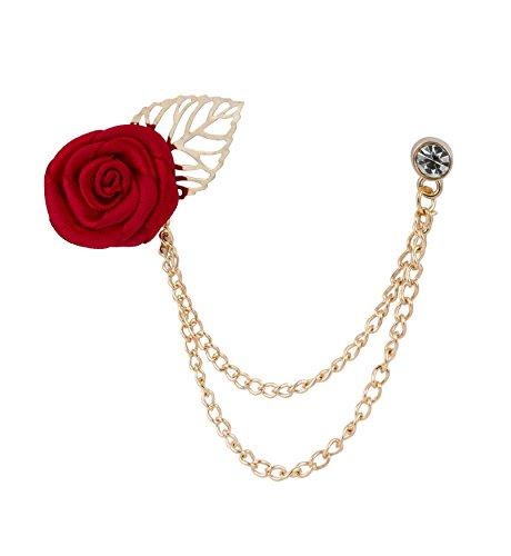 Knighthood Broche rose bordeaux avec chaîne de suspension pour manteau, costume, cadeau de mariage, chemise, collier, accessoire pour homme
