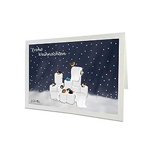 Weihnachtskarte mit Vogelmotiv Amsel Blaumeise Rotkehlchen Zaunkönig in Toilettenpapier Inklusive Umschlag