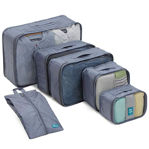 6 Set Packing Cubes-Large Capacity Travel Luggage Packing Organizers with Shoe Bag-Gray