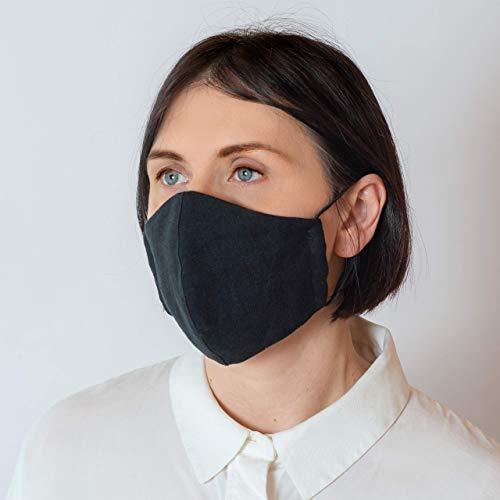 Maske Mundschutz Leinen 3 Schichten Waschbare- 8 klassische Farben Auch für einen klassischen Anzug geeignet - Handgefertigt in Europa