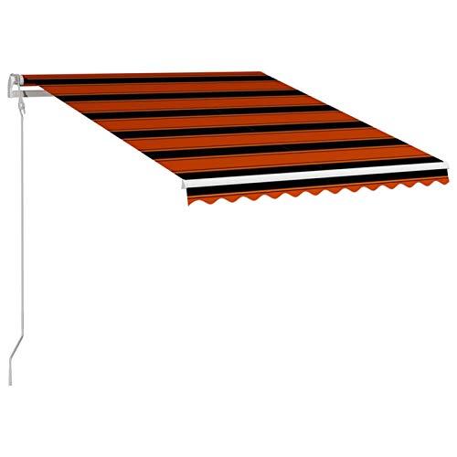 Kshzmoto Toldo retráctil automático Naranja y marrón Terraza Balcón Toldo Resistente a Los Rayos UV Toldo Montando en la Pared Toldos para Patio 350x250 cm