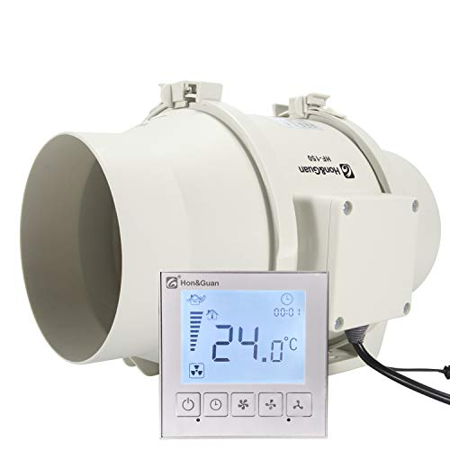 Abluftventilator Badl/üfter mit Hygrostat und Timer Hon/&Guan Rohrventilator Intelligenter Controller mit Drei Geschwindigkeitssteuerung /ø125mm