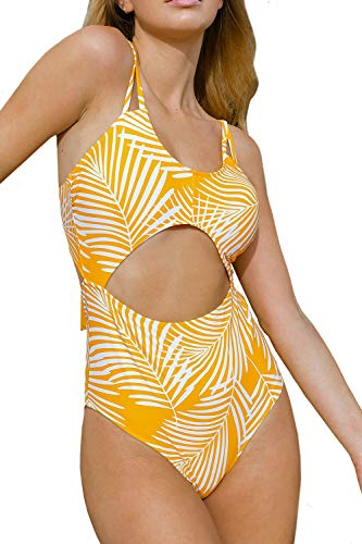 CUPSHE Women's Yellow Leaf Print Cut Out Sexy Lace Up Padded One Piece Swimsuit, XXL