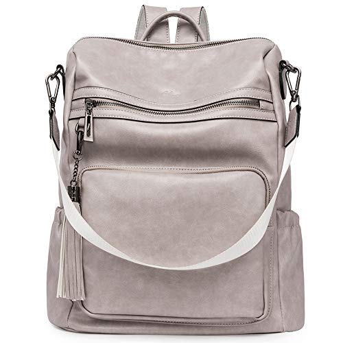 Backpack Purse for Women Fashion Two Toned Leather Designer Travel Large Ladies Shoulder Bags with Tassel gray