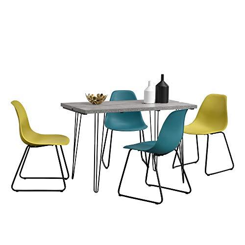 Eethoek - eettafel - betonlook + 4 stoel - geel - turquoise