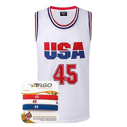 AFLGO Donald Trump #45 Basketball Stitched Commemorative Edition S-XXXL Jersey - White, XX-Large