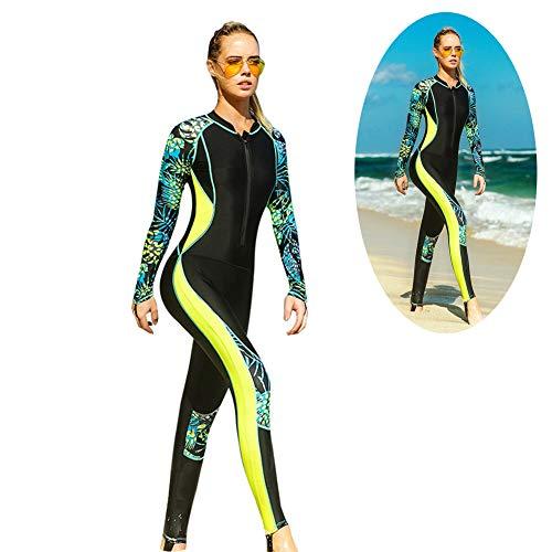 Lhlbgdz Frauen Surf Neoprenanzüge Dünn Bedruckte Langarm Rash Guard Weibliche Badeanzüge Badebekleidung Zip Up Badeanzüge,Gelb,M