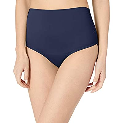 Anne Cole Women's High Waist to Fold Over Shirred Bikini Bottom Swimsuit, Live in Color Navy, Large