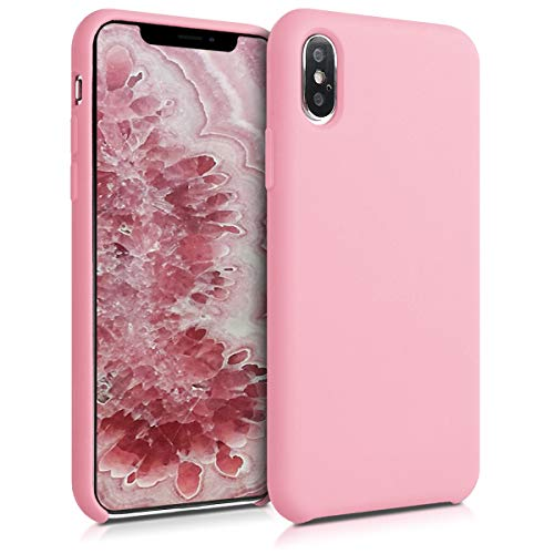 kwmobile TPU Silicone Case Compatible with Apple iPhone Xs - Soft Flexible Rubber Protective Cover - Light Pink