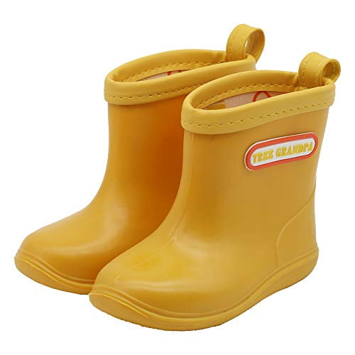 Baby Waterproof Shoes Toddler Kids Rain Boots Boys Girls Cute Play Boots (Yellow, Numeric_6)