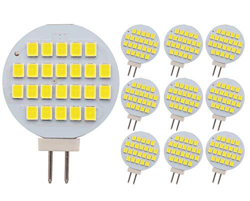 G4 24-2835 SMD Ampoule LED Super Lumineux AC/DC 12V -24V, blanc froid, Lot de 10, G4