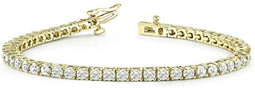 OMEGA JEWELLERY Pulseras de Tenis de una Fila de Diamantes Naturales Unisex para Mujer, para Hombres, en Oro de 14 k sobre 1.00 Cttw, Clarity-I2, Color-J (Amarillo-Dorado-Plateado-Plateado)