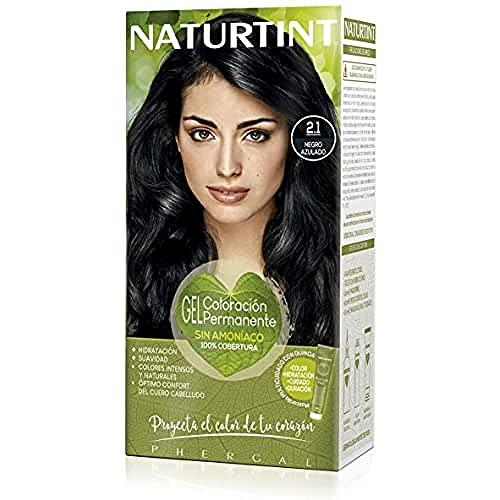 Naturtint | Coloración sin amoniaco | 100% cobertura de canas | Ingredientes vegetales | Color natural y duradero | 2.1 Negro Azulado | 170ml