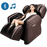 Sinoluck Full Body Massage Chair with Lower-Back Heating, Bluetooth Speaker and Foot Roller (Brown)