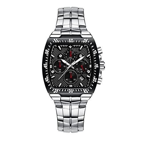 WWOOR Sqaure - Reloj de pulsera de acero inoxidable para hombre, cronógrafo, resistente al agua, analógico, de cuarzo, elegante reloj de negocios, casual, con fecha, movimiento...