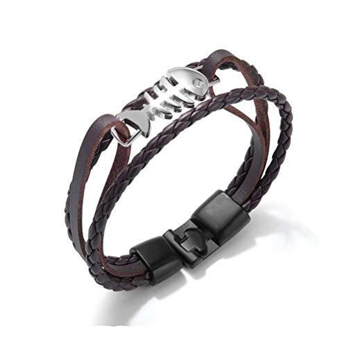 Peotouvy Herren Edelstahl Fischgräte Armband mehrschichtiges geflochtenes Leder Braun Armband