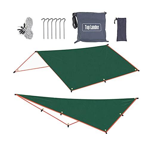 Hellery wasserdichte Hängematte Regen Fliegenzelt Tarp Camping Shelter Plane mit Seil, Gound Nails Stakes Bodentuch Sonnenschutzmatte Sun - 300x500cm