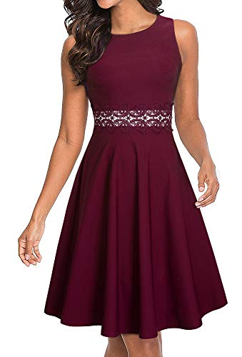 HOMEYEE Women's Sleeveless Cocktail A-Line Embroidery Party Summer Wedding Guest Dress A079 (6, Carmine)