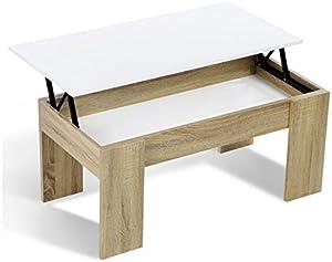 IDMarket - Table Basse avec Plateau relevable Bois Blanc et Imitation hêtre