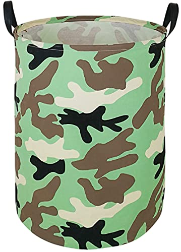 AYTG Canvas Large Clothes Basket Laundry Hamper with Handles,Waterproof Cotton Storage Organizer Perfect for Kids Boys Girls Toys Room, Bedroom, Nursery,Home,Gift Basket (Camouflage)
